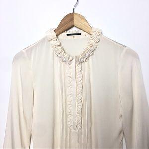 Elie Tahari Silk Cream Ruffles Neck Button Blouse